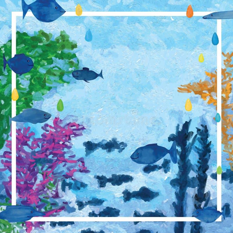Het onderwaterkader van het vissendecor vector illustratie