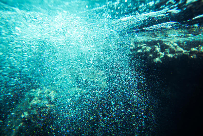 Het onderwateroverzees borrelt achtergrond royalty-vrije stock foto