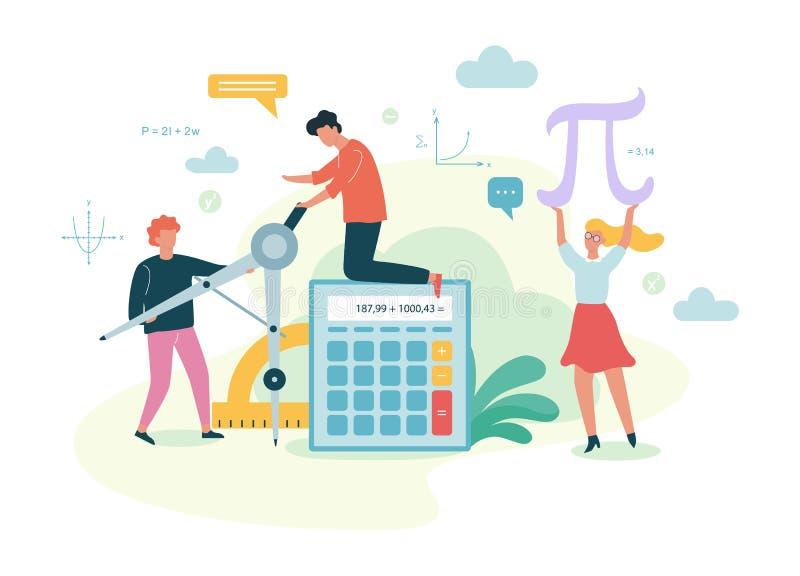 Het onderwerp van de wiskundeschool Het leren wiskunde, idee van onderwijs vector illustratie