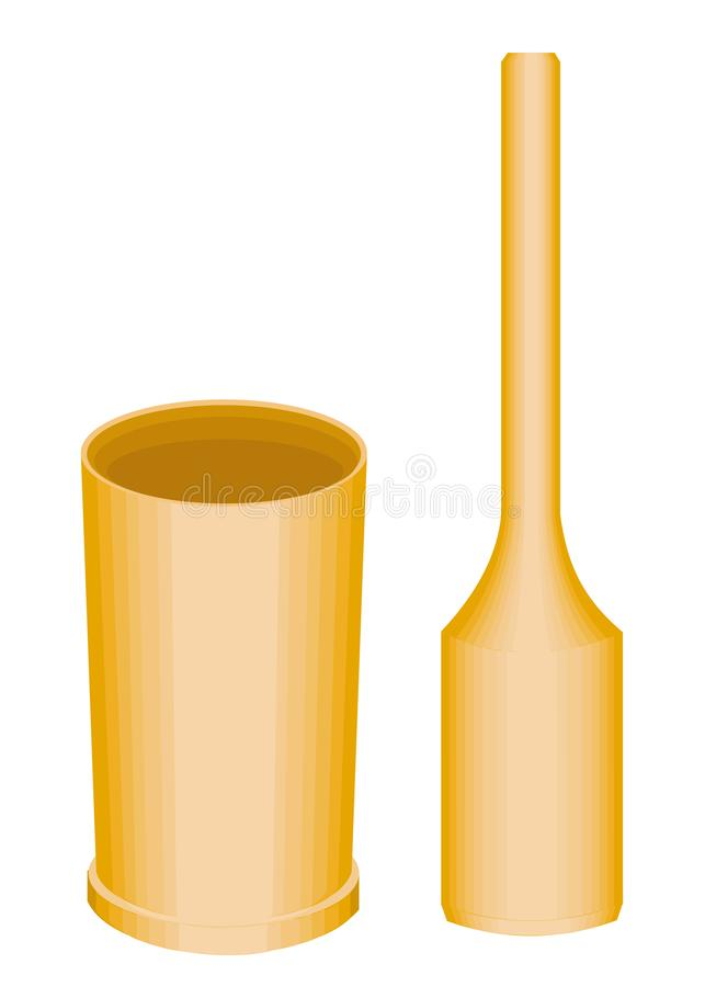 Het onderwerp van keukengerei Een houten mortier en een stamper zijn noodzakelijk voor het huishouden in de keuken Vector illustr royalty-vrije illustratie
