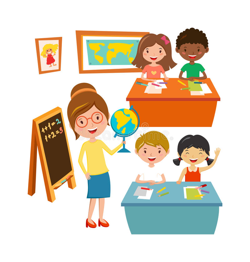 Het onderwijs basisschool van schooljonge geitjes het leren en van het mensenconcept vector vector illustratie