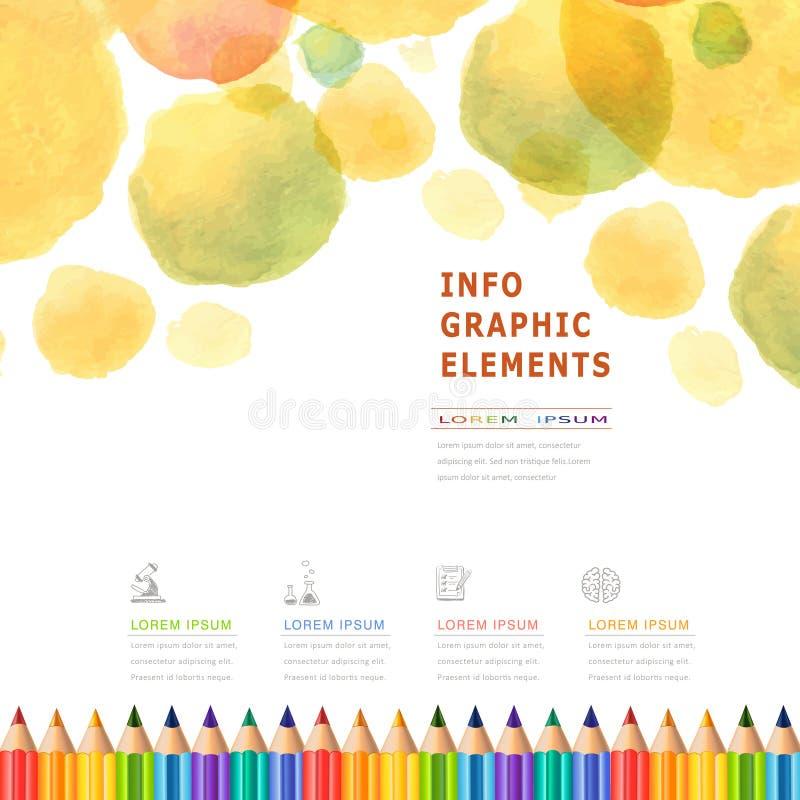 Het onderwijs van de waterverfstijl infographic met kleurrijke potloden royalty-vrije illustratie