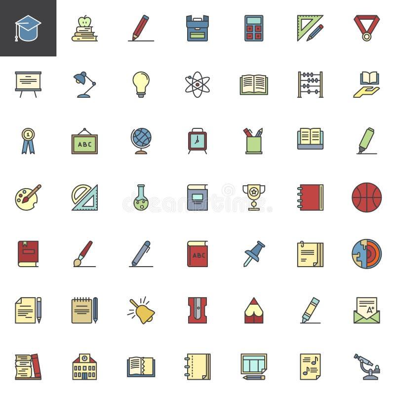 Het onderwijs vulde geplaatste overzichtspictogrammen vector illustratie