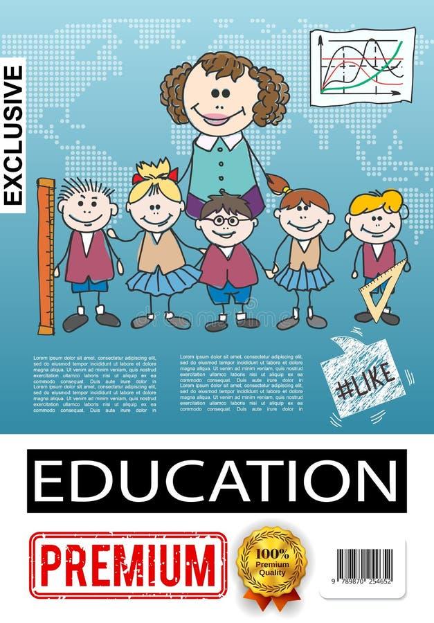 Het Onderwijsaffiche van de schetslage school vector illustratie