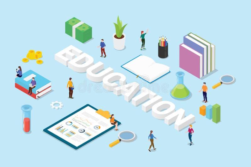 Het onderwijsconcept met grote van het woordentekst en team mensenboeken en wetenschapsvoorwerp ondertekent pictogram met isometr royalty-vrije illustratie