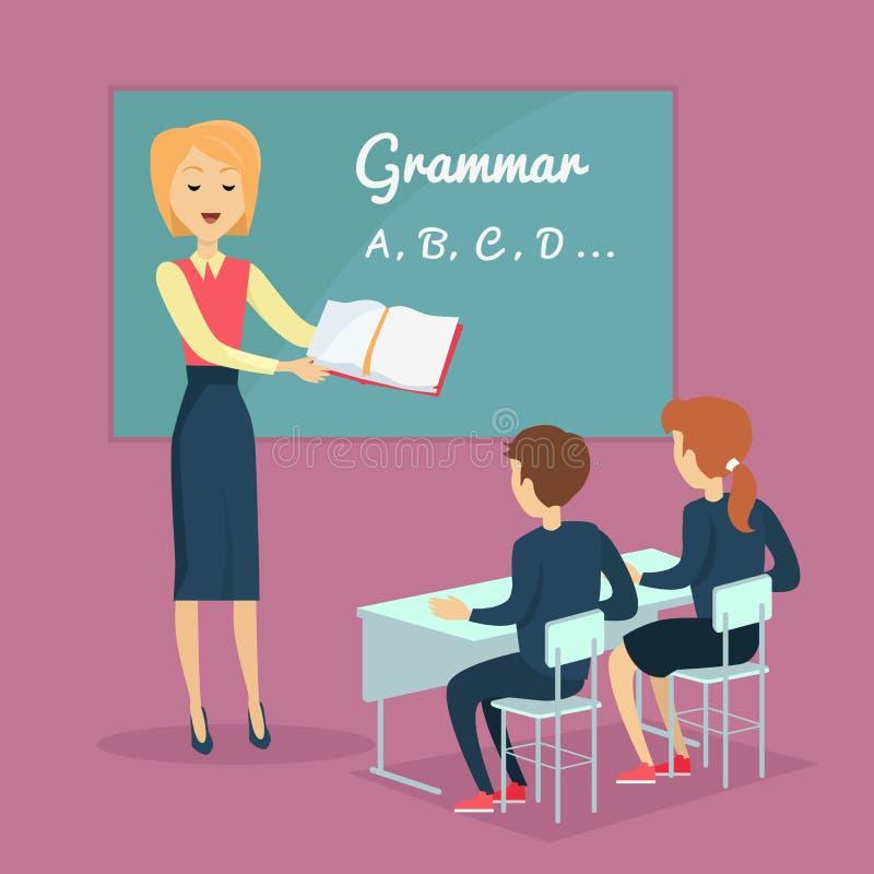 Het Onderwijsillustratie van de kinderens Grammatica royalty-vrije illustratie