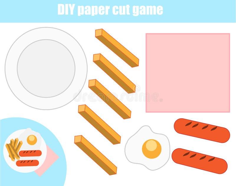 Het onderwijsspel van cut-and-pastekinderen Document scherpe activiteit Maak een voedselplaat met lijm DIY-aantekenvel vector illustratie