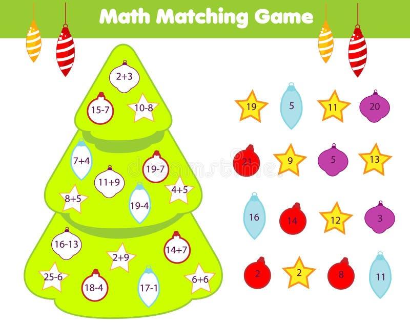 Het onderwijsspel van wiskundekinderen De gelijkevoorwerpen met aantallen en verfraaien Kerstboom Tellende activiteit voor jonge  royalty-vrije illustratie