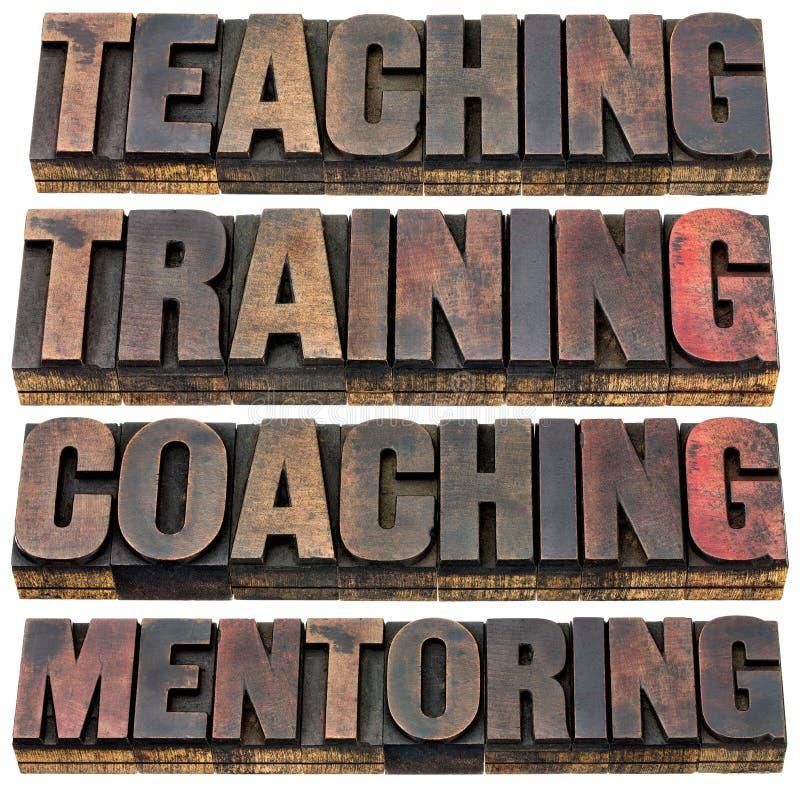 Het onderwijzen, opleiding, het trainen en hoede stock foto