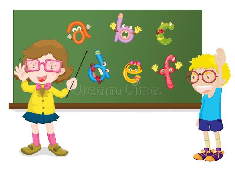 Het onderwijzen van het alfabet stock illustratie
