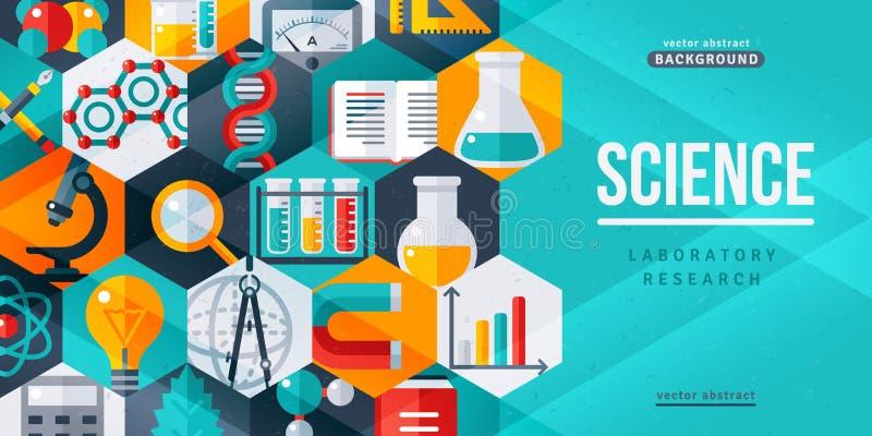 Het onderzoek creatieve banner van het wetenschapslaboratorium royalty-vrije illustratie