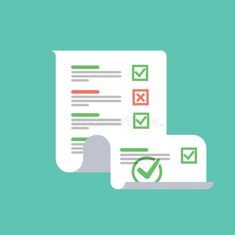 Het onderzoek of het examen vormt lang document blad met beantwoorde quizcontrolelijst en de beoordeling van het succesresultaat, royalty-vrije illustratie