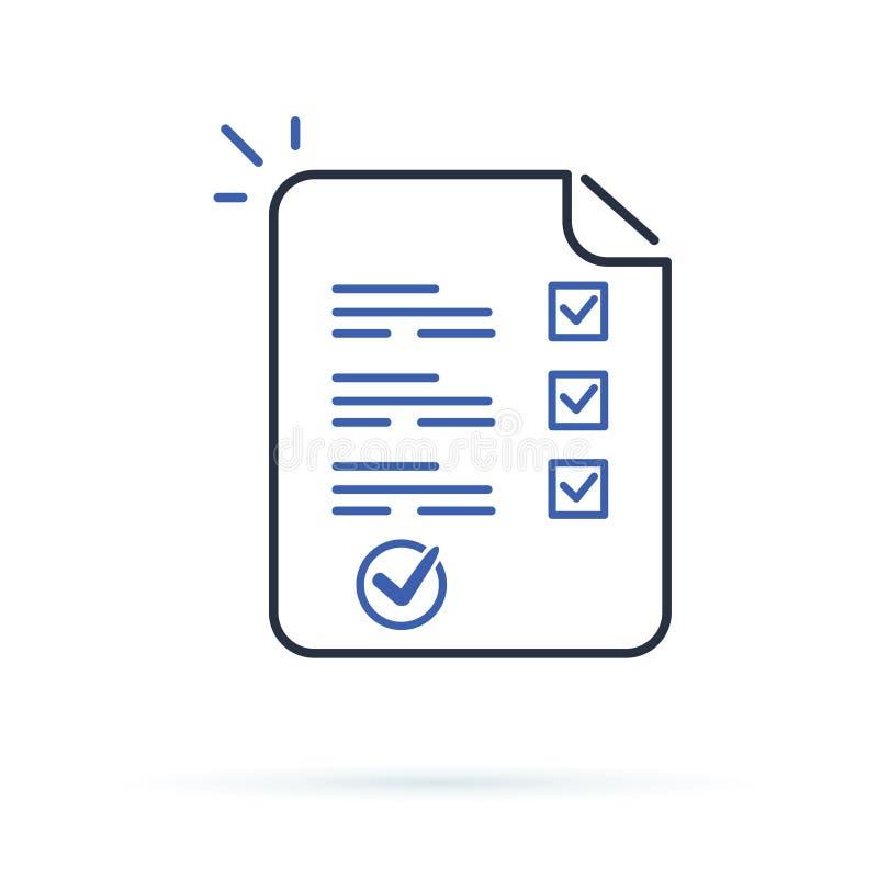 Het onderzoek of het examen vormt lang document blad met beantwoorde quizcontrolelijst en de beoordeling van het succesresultaat, vector illustratie