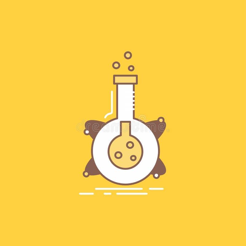 het onderzoek, laboratorium, fles, buis, ontwikkelings Vlakke Lijn vulde Pictogram Mooie Embleemknoop over gele achtergrond voor  stock illustratie
