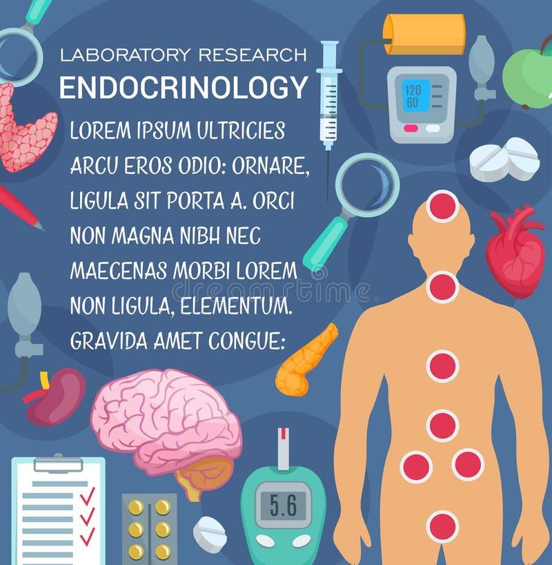 Het onderzoek medische affiche van het endocrinologielaboratorium vector illustratie