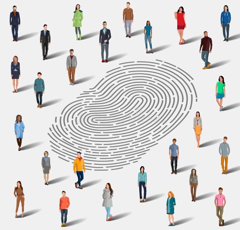 Het onderzoek naar een persoon door vingerafdruk vector illustratie