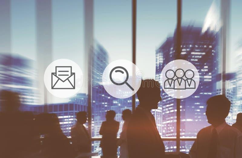 Het Onderzoek Team Concept van het postvergrootglas stock illustratie