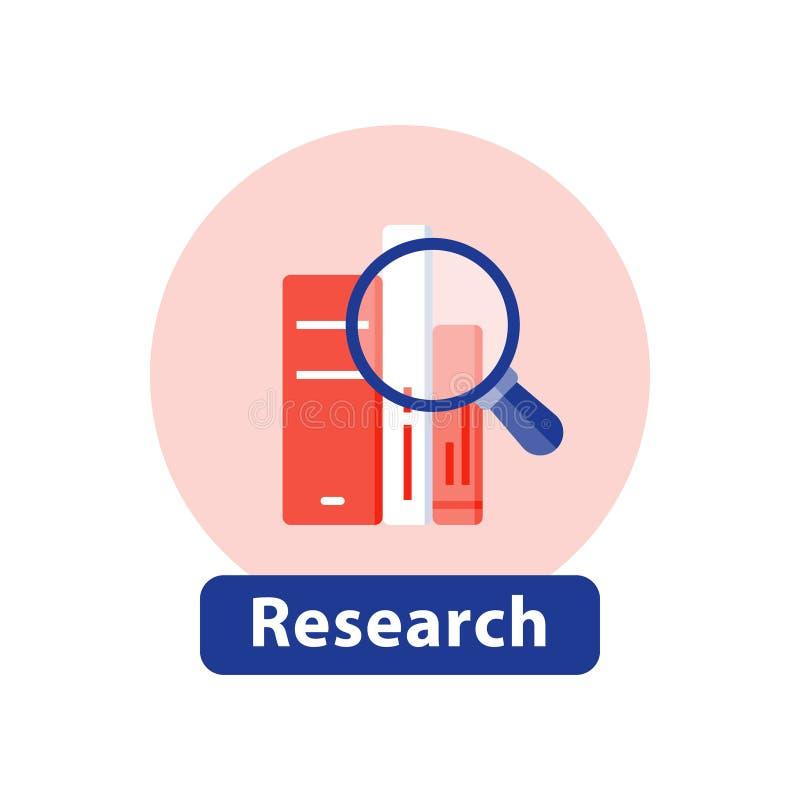 Het onderzoek van het bibliotheekboek, examenvoorbereiding, studieonderzoek, las en leert informatie royalty-vrije illustratie