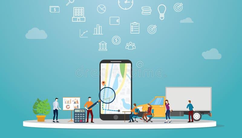 Het onderzoek van de Geolocationoptimalisering naar beste routes in kaarten app voor de bedrijfsleveringsdienst met moderne vlakk stock illustratie