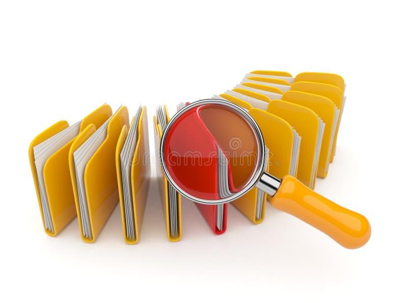 Het onderzoek van de omslag en van het dossier met vergrootglas. 3D vector illustratie