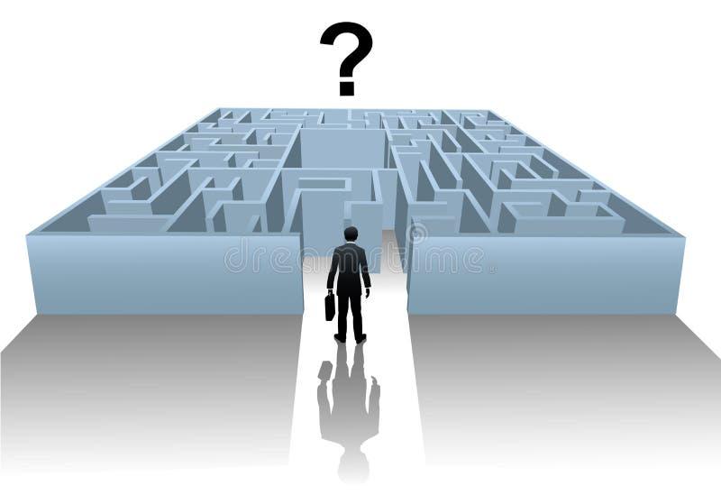 Het onderzoek van het Labyrint van de persoon naar bedrijfsoplossing royalty-vrije illustratie