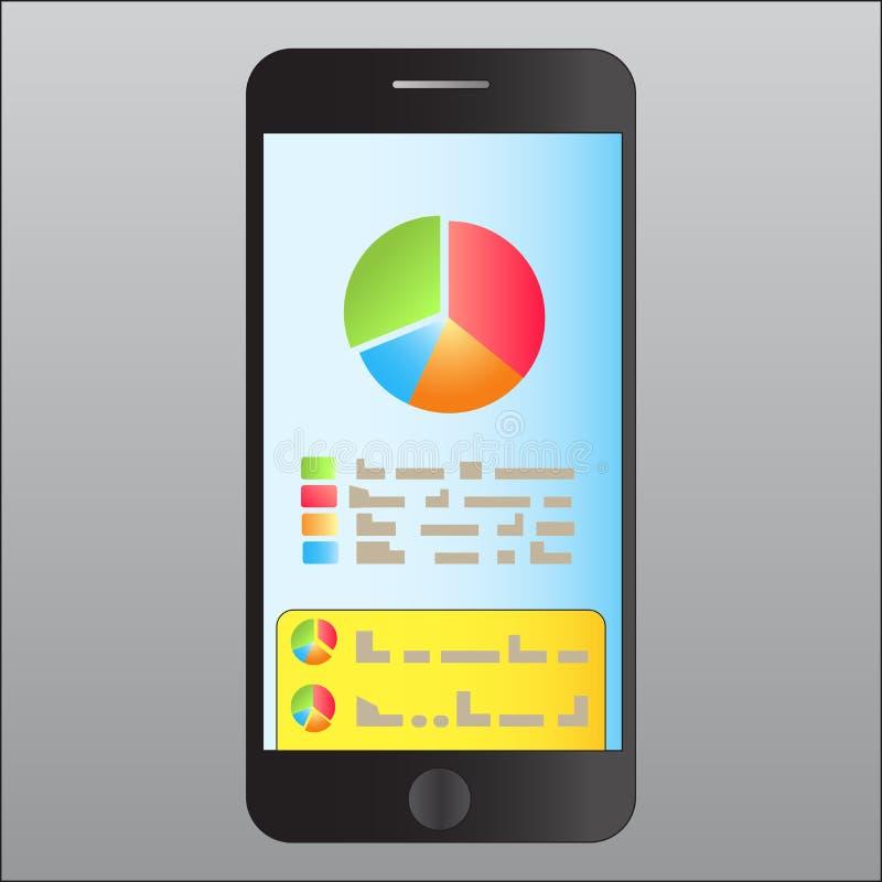 Het onderzoeken van de grafiek van voltooide doelstellingen voor de periode prestaties, bespreking van doelstellingen stock illustratie