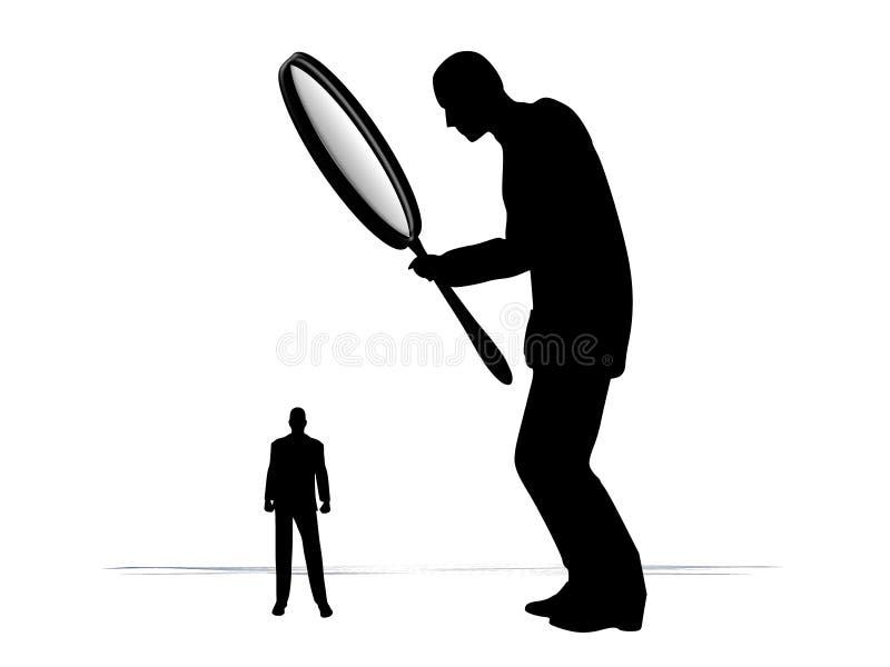Het Onderzoeken van de mens met Vergrootglas stock illustratie