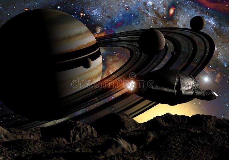 Het onderzoeken van het ruimteschip vector illustratie