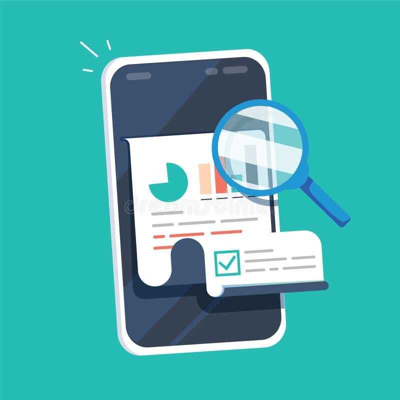 Het onderzoekrapport vloeit op mobiele telefoon vectorillustratie, de vlakke gegevens van de beeldverhaalkwaliteit of controlesta vector illustratie