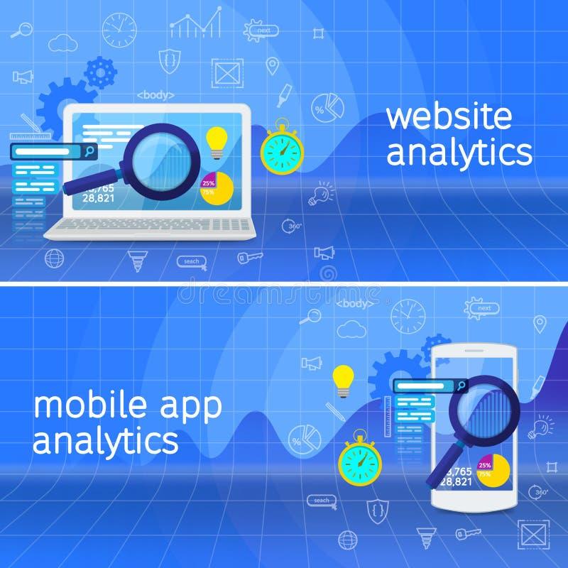 Het onderzoeksinformatie van websiteanalytics en de analyse van gegevensverwerkingsgegevens stock illustratie