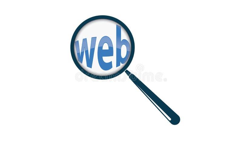 Het Onderzoekstekst en Vergrootglas van Webinternet stock illustratie