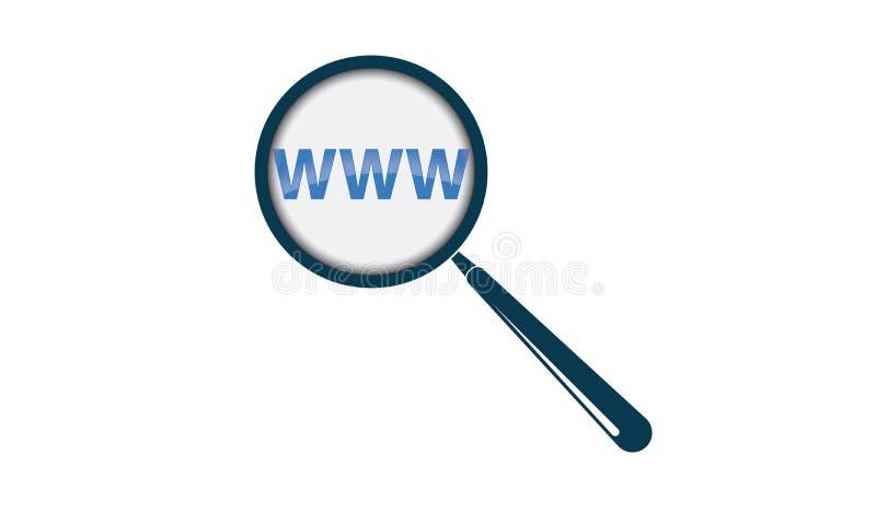Het Onderzoekstekst en Vergrootglas van Webinternet WWW stock illustratie