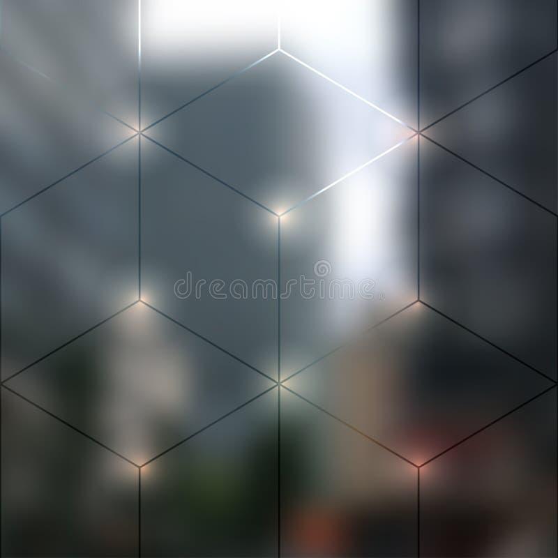 Het onduidelijke beeld steekt stadsachtergrond aan vector illustratie