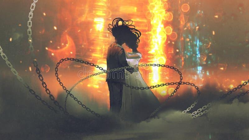 Het ongebruikelijke huwelijkspaar kussen stock illustratie