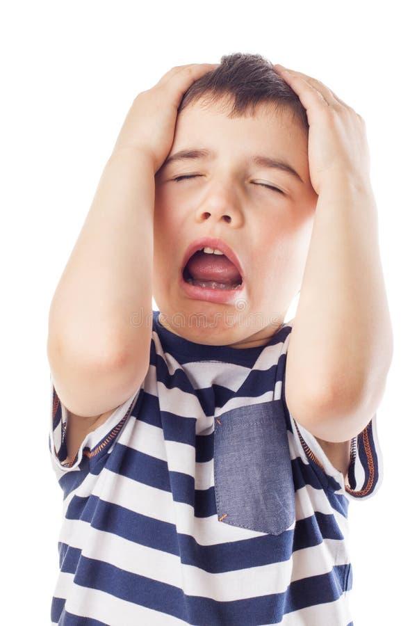 Het ongehoorzame jongen schreeuwen royalty-vrije stock afbeeldingen
