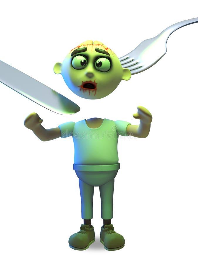 Het ongelukkige Halloween-zombiemonster heeft zijn hoofd dat door een mes en een vork, 3d illustratie wordt verwijderd vector illustratie
