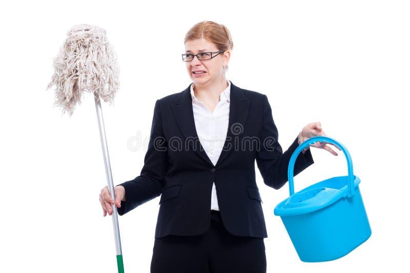 Het ongelukkige weerzinwekkende onderneemster schoonmaken stock afbeelding