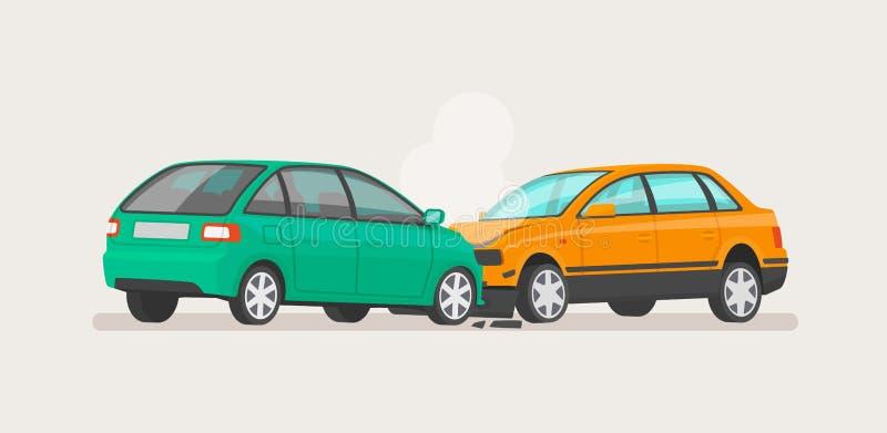 Het ongeval van de auto Twee gebroken auto's Vector illustratie vector illustratie