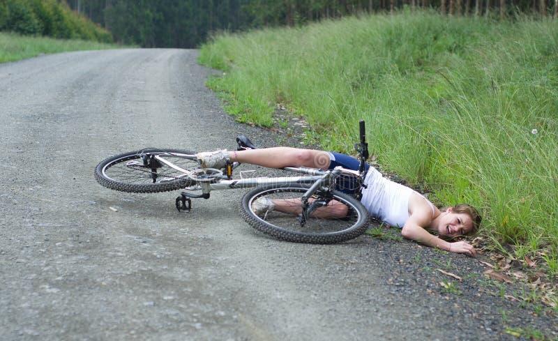 Het ongeval van de fiets stock afbeelding
