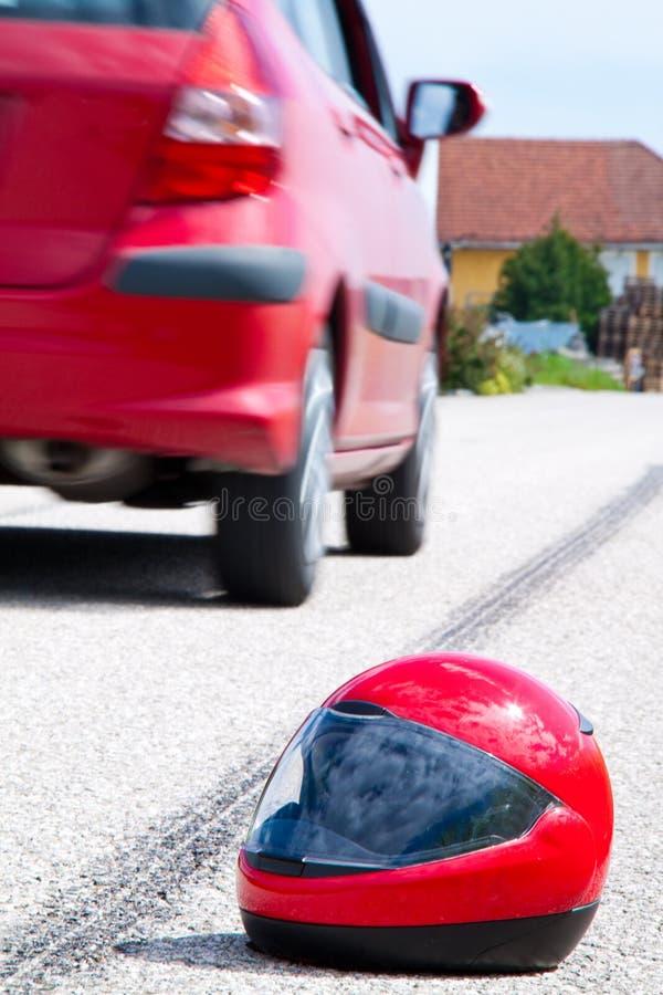 Het ongeval van de motorfiets. Het ongeval van het verkeer stock foto's