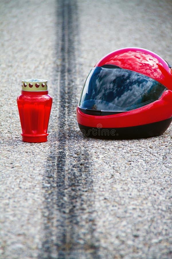 Het ongeval van de motorfiets. Het ongeval van het verkeer royalty-vrije stock afbeeldingen