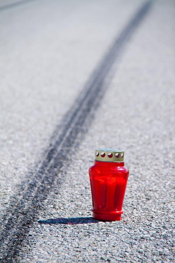 Het ongeval van de motorfiets. Het ongeval van het verkeer royalty-vrije stock afbeelding