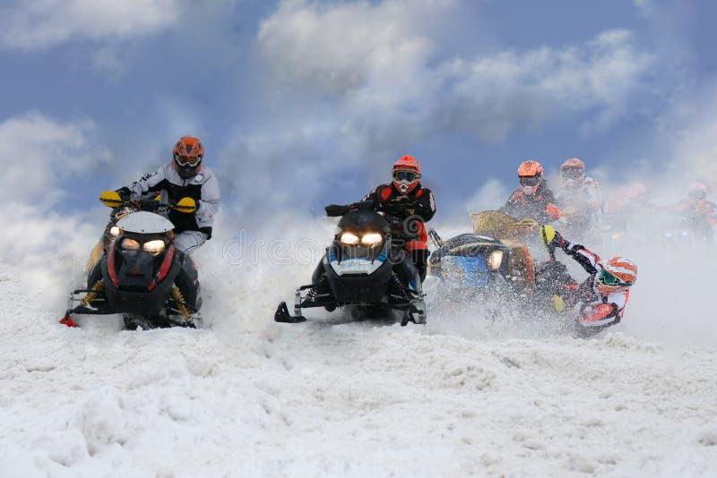 Het ongeval van de sneeuwscooter stock foto