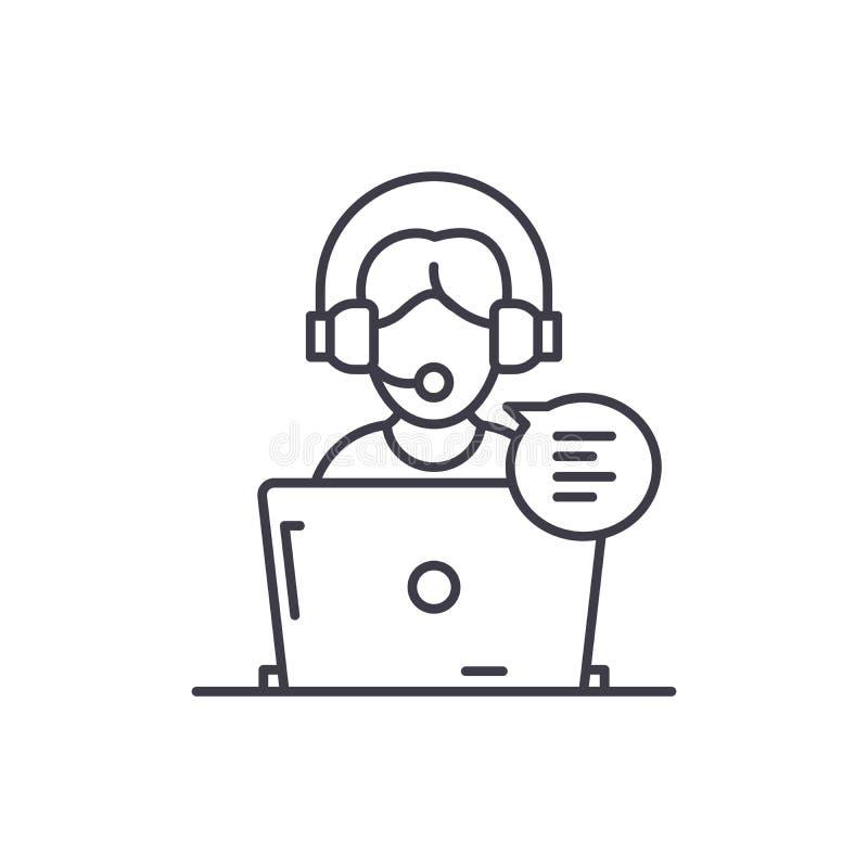 Het online het adviseren concept van het lijnpictogram Online het adviseren vector lineaire illustratie, symbool, teken vector illustratie