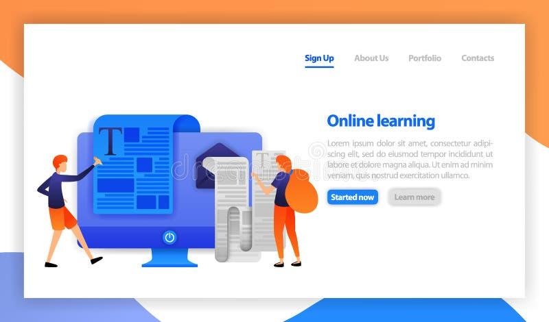 Het online afstand bestuderen en onderwijsconcept Afstandsonderwijs, online cursussen, e-leert, leerprogramma's Het lezen en het  royalty-vrije illustratie