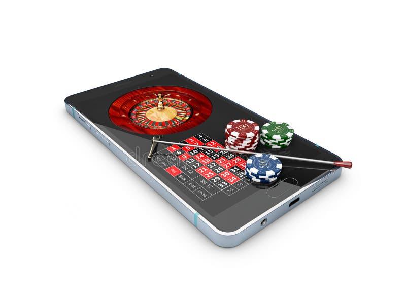 Het online casinoconcept, speelkaarten, dobbelt spaanders en smartphone 3d Illustratie royalty-vrije stock fotografie