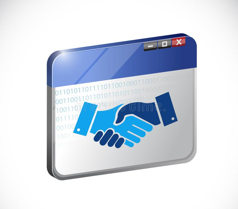 het online concept van de bedrijfsovereenkomstenhanddruk stock illustratie