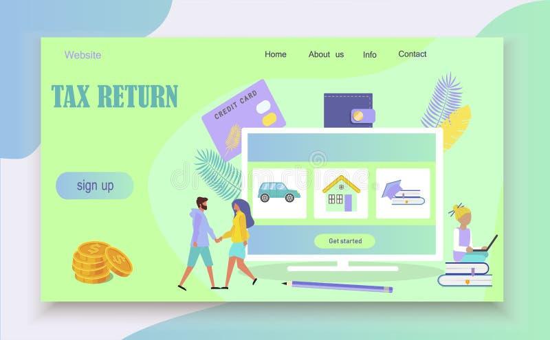 Het online concept van de belastingsbetaling royalty-vrije illustratie
