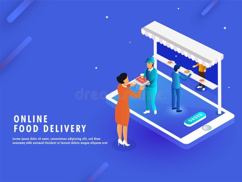 Het online concept van de Voedsellevering, isometrische mening van e-winkel of restau vector illustratie