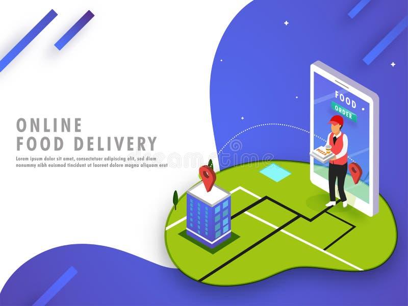 Het online concept van de voedsellevering met de leveringsjongen die aan Th leiden vector illustratie